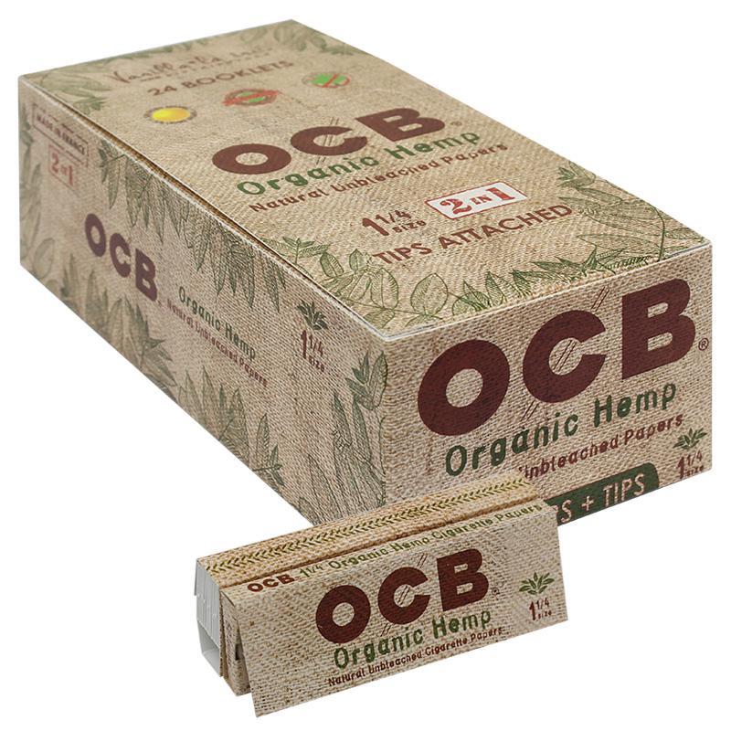 "OCB Organic Hemp 1 1/4"" Size Rolling Paper & Tips"