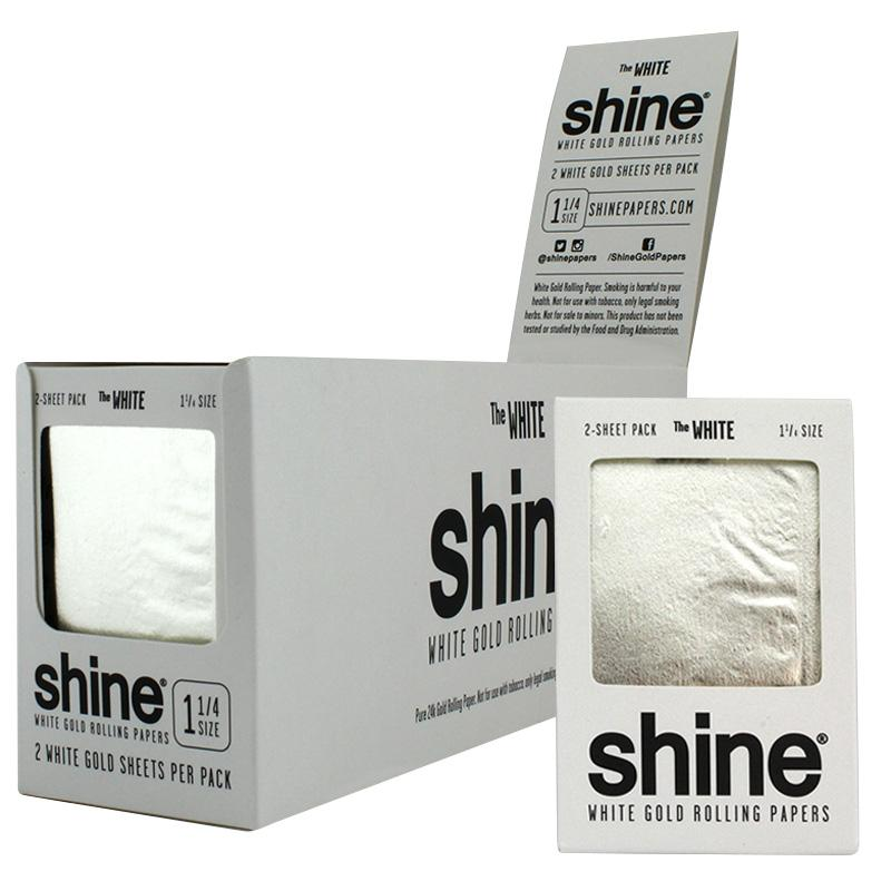 """Shine 1 1/4"""" Size 2 Sheet Pack The White Gold Rolling Paper"""