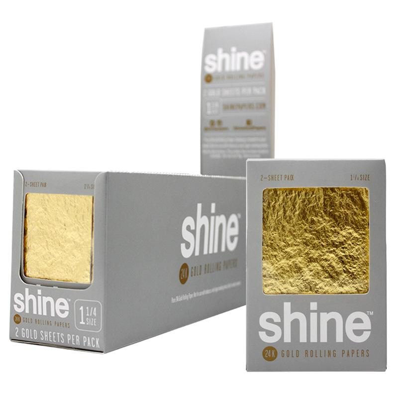 """Shine 1 1/4"""" Size 2 Sheet Pack Gold Rolling Paper"""