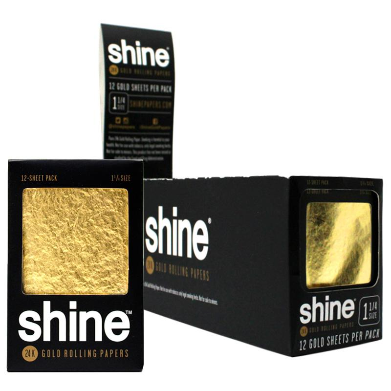 """Shine 1 1/4"""" Size 12 Sheet Pack Gold Rolling Paper"""