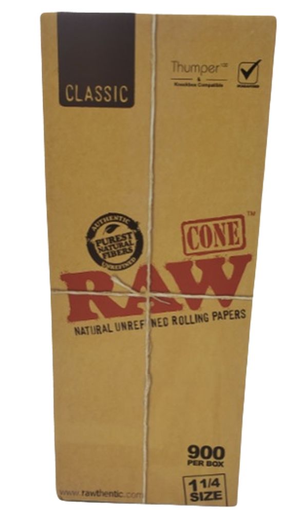 "Raw Classic 1 1/4"" Size Pre-Rolled Cone - 900ct./Display"