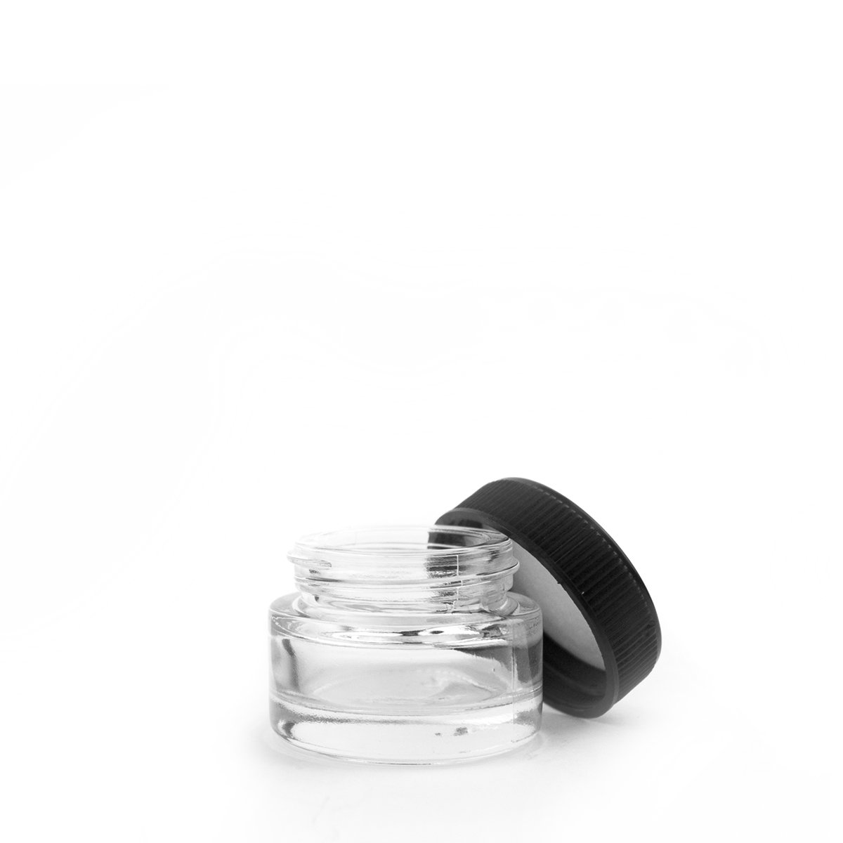 5mL Black Plastic Top Clear Glass Jar Container