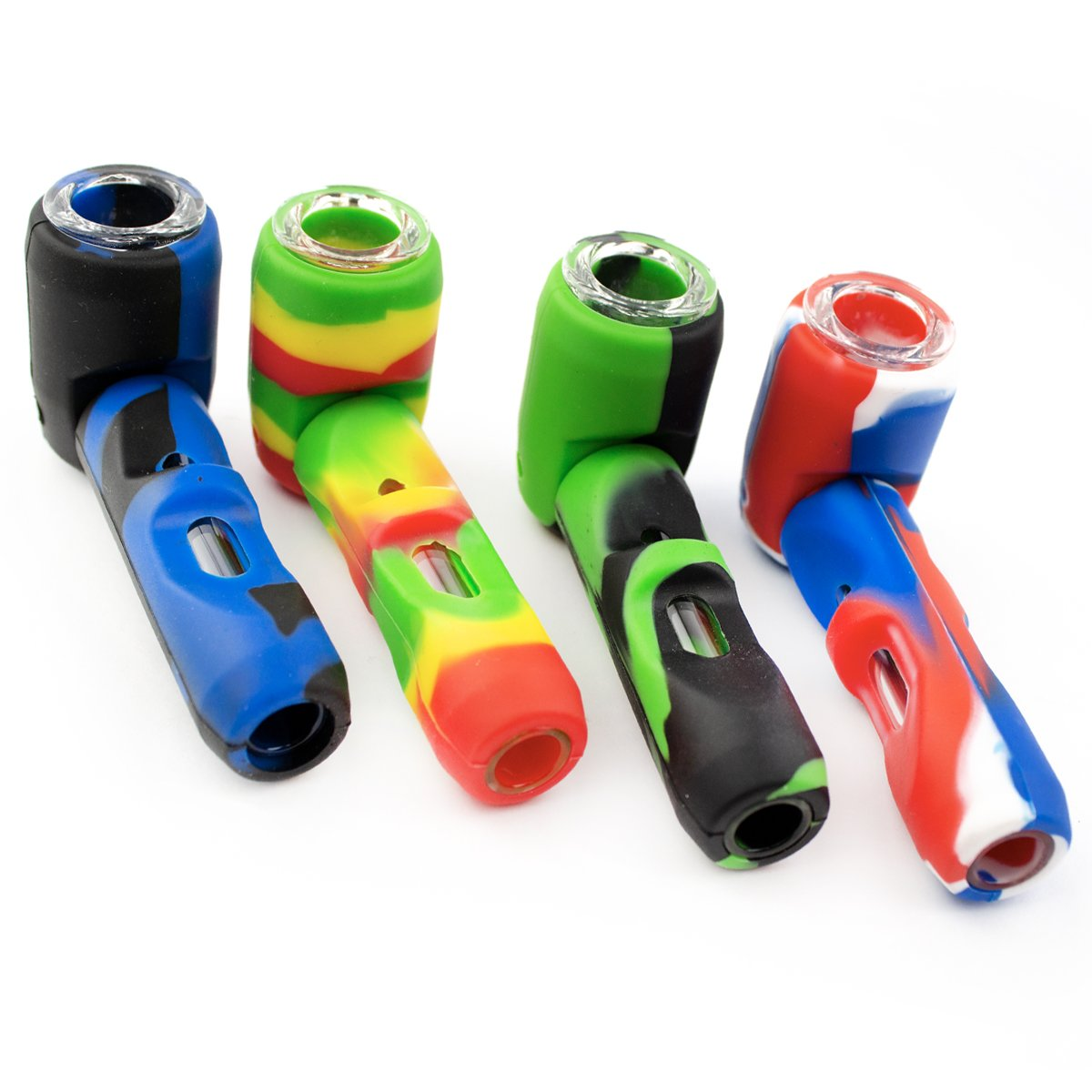 "4"" Silicone Hand Pipe with Detachable Glass Bowl"