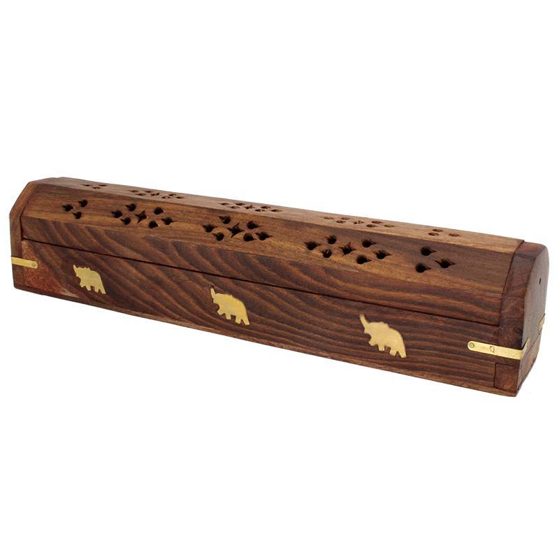 Elephants Wooden Incense Coffin Burner