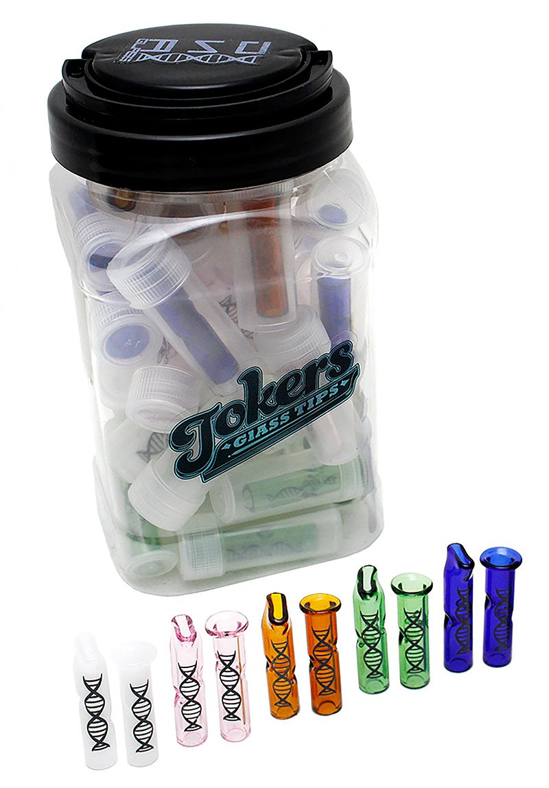 Tokers Colored Glass Tips Jar by DNA Glass