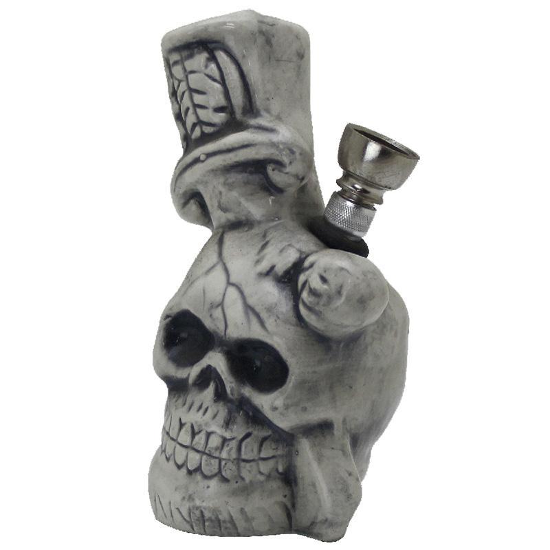 """5"""" Skull & Dagger 2 Ceramic Water Pipe"""
