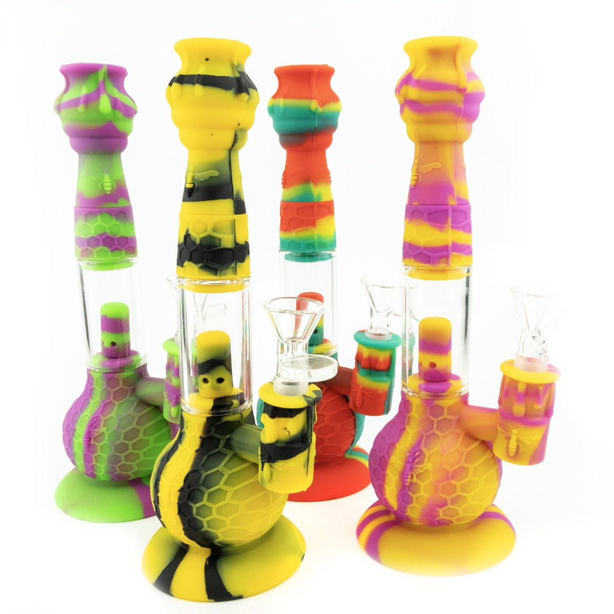 "9"" Honeycomb Silicone and Glass Water Pipe with Percolator"