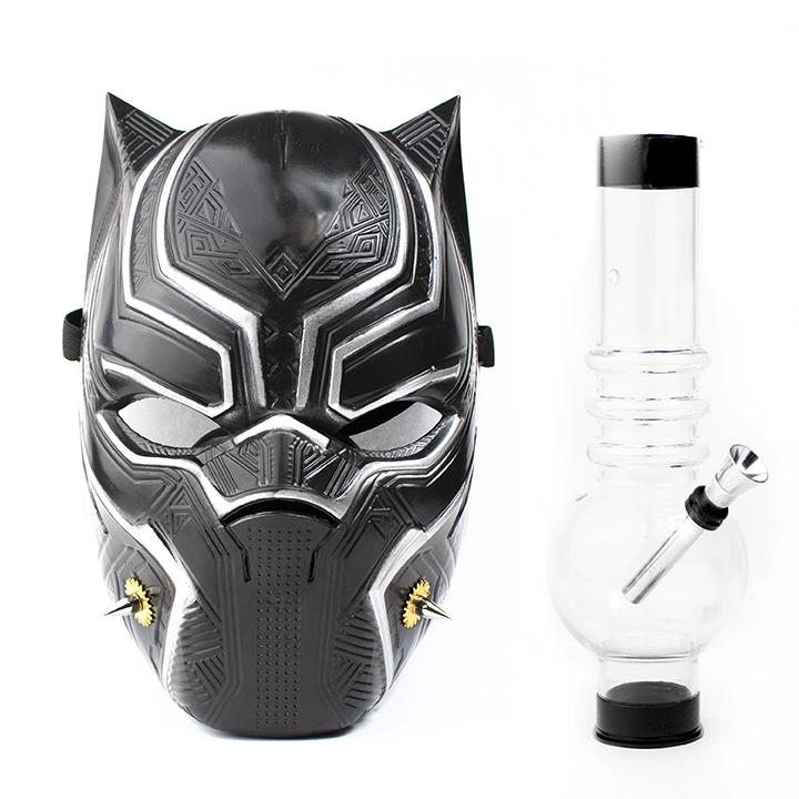 Black Panther Gas Mask with Acrylic Water Pipe