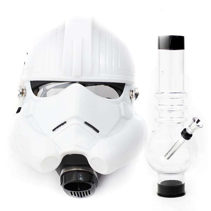 White Storm Troopers Gas Mask with Acrylic Water Pipe
